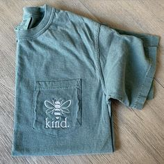 Bee Kind Tee- Comfort Colors Dog Lover Monogram Pocket Tee- Personalized Pocket T-Shirt- Ring Spun Pocket Comfort Colors Monogram Tee Monogram Pocket Tees, Pocket Shirts, Mom Shirts, Vinyl Shirts, Comfort Colors, Tshirt Colors, Colorful Shirts, Blue Spruce, Southern Marsh