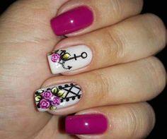 Flores Cute Nail Art, Gel Nail Art, Cute Nails, Pretty Nails, Anchor Nail Art, Ninas Nails, Fingernails Painted, Nails 2017, Nail Decorations