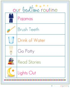 Nighttime routine and other free printables. Great for kids and keeping organized. In love with these ideas. {I have it printed out and stuff. Just gonna start this routine on Sunday night! Chores For Kids, Activities For Kids, Learning Activities, Kids And Parenting, Parenting Hacks, Parenting Plan, Chore Chart Kids, Chore Charts, Kids Charts