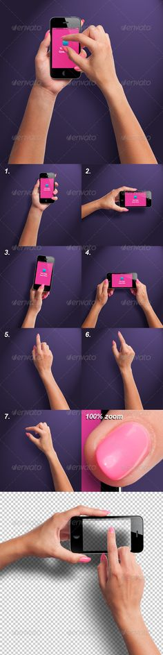 Female Hands with Smartphone Photorealistic Mockup  #GraphicRiver         Photo-realistic isolated hands with smartphone mock-up, great for presenting your applications. Use this mock-up instead of taking pictures.  Features   300DPI, very high resolution, suitable for websites, overlays and even high resolution advertising like posters and billboards (hand no. 1: 2747×5187px, hand no. 2: 5643×2759px, hand no. 3: 2827×6428px, hand no. 4: 5780×3802px, hand no. 5: 2636×5215px, hand no. 6…