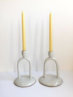 arched candle stick, white speckle available) — JUNO Modern Candle Holders, Modern Candles, Candlesticks, Arch, Clay, Contemporary Candle Holders, Candle Holders, Clays, Candle Sticks