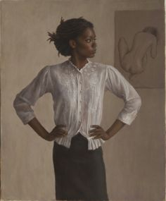 """Harry Holland """"Akimbo"""" - Oil on canvas, 77 x 61 cm Woman Painting, Figure Painting, National Museum Of Wales, What Is Contemporary Art, Realistic Paintings, African American Art, African Art, Portrait Art, Portraits"""