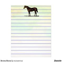 Brown Horse Letterhead #Horse #Animal #Spiral #NotePad #MemoPad #School #Student #Teacher #Stationery #Letterhead