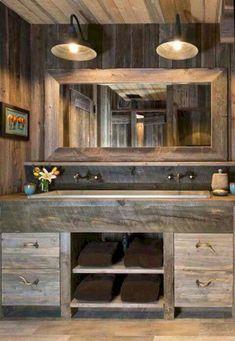 50 best farmhouse bathroom vanity remodel ideas (70)