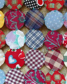 back of mini yo-yo quilt.
