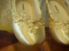Wedding Flats IvoryGold Shoes Satin Appliques pearls by NewBrideCo, $126.00