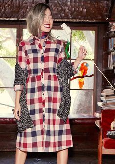 Jam, Girl Shirt Dress by ModCloth - Multi, Plaid, Print, Work, A-line, Shirt Dress, 3/4 Sleeve, Fall, Woven, Better, Exclusives, Private Label, Red, Long, Blue, Tan / Cream, Pockets, Casual, Rustic, Scholastic/Collegiate, Americana, Store 1, ModCloth Label