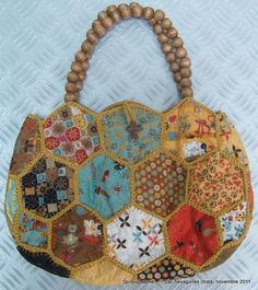 My hexagones bag in cotton and crochet assembly