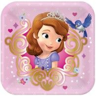 Your favorite princess-in-training, Sofia the First, is here to party with these pink and gold scroll square paper dessert plates. Perfect for Sofia the Fir Princess Sofia Party, Princess Sofia The First, Disney Princess Party, Princess Birthday, Sofia The First Birthday Party, Pink And Gold Birthday Party, 3rd Birthday, Birthday Ideas, Princesa Sophia