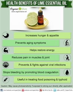 Health benefits of lime essential oil can be attributed to its properties as an antiseptic, antiviral, astringent, aperitif, bactericidal, disinfectant, febrifuge, haemostatic, restorative and tonic substance.