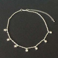 Chain Choker, Star Choker, Silver Star Choker, Silver Anklet, Silver Plated Chain, Chocker, Necklace, ankle bracelet, Minimalist Jewelry by TjsJewel on Etsy