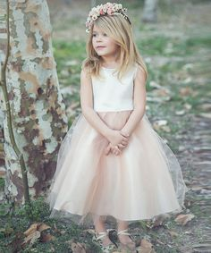 Another great find on #zulily! Champagne Tulle Flower Dress - Toddler & Girls #zulilyfinds