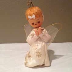 Vintage Joyous Noel Trim a Tree Praying Angel Ornament Doll-Japan RARE!!