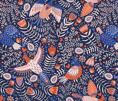Schwedische Folklore. Vögel. Design von rebecca_reck_art auf Spoonflower.com | Dein Design auf Stoff, Tapete und Geschenkpapier