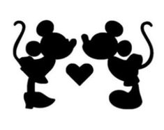 DIY Vinyl Iron On Minnie and Mickey Mouse Silhouette Applique - Iron On
