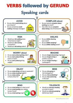 GERUND - Speaking cards worksheet - Free ESL printable worksheets made by teachers English Teaching Materials, Teaching English Grammar, English Writing Skills, English Language Learning, Learn English Speaking, German Language, English Idioms, English Lessons, English Vocabulary
