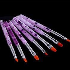 7pcs lot Nail Art Brush Pens Nail Brushes UV Gel Nail Polish Painting Drawing Brushes set. Click visit to buy #Nail #Tool #NailTool
