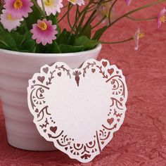 50Pcs Table Wine Glass Name Place Card Laser Cut Heart White Wedding Decoration - Wedding Look