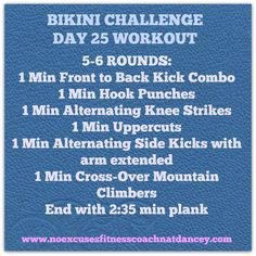 Day 25 was the funnest workout to plan. It is based on my love for @LesMillsCombat and works your whole body. Have fun with this one :). Would love to hear what you think! #bikinichallenge #fitforlife #kickboxing https://www.facebook.com/groups/292888694222151/