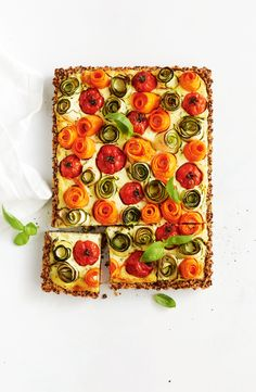 This beautiful gluten-free tart uses rolled vegetables to create a stunning rose pattern. Vegetable Tart, Tart Recipes, Free Recipes, Fresh Chives, Basil Pesto, Appetisers, Simple Pleasures, Tray Bakes, Starters