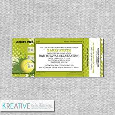 Tennis Invitation Ticket  Birthday  Tennis Theme by kreativees
