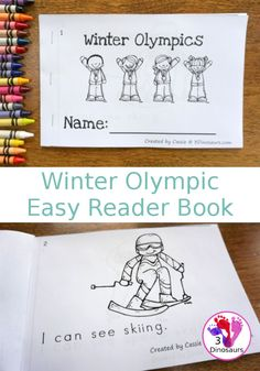 FREE Winter Olympics Easy Reader Book 10 page book for kids to read - 3Dinosaurs.com #freeprintable #easyreaderbook #winterolympics