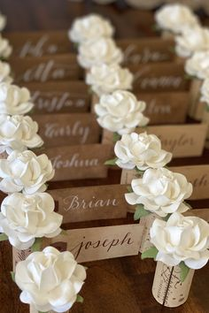 Your wedding place card table will be one of the first things your guests see when they enter your reception - make it unforgettable with these rose Place Card Holders from Kara's Vineyard Wedding. Wedding Places, Wedding Place Cards, Name Card Holder, Place Card Holders, Wedding Reception, Wedding Ideas, Nice Handwriting, Blooming Rose, Seating Chart Wedding