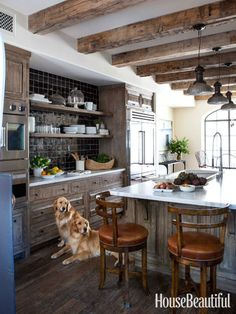 Beautiful tile, contrasting with the counter tops and weathered cabinets