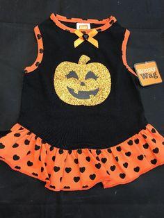 Pet Clothes Apparel Outfit Fashion Dog Dress Size S Orange Glitter Pumpkin Heart  | eBay