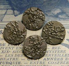 Antique Button Paris Back Metal Cherry Blossom