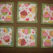 LBQ's Cupcake Coasters: I'd totally sew these together into a baby quilt!!!