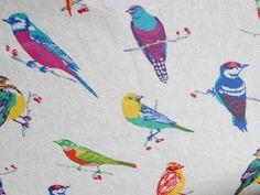 Japanese Echino Print Oilcoth Beige Birds by Etsuko Furuya for Echino   buy online and in-store from Ray Stitch