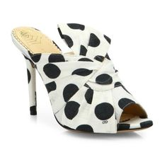 Charlotte Olympia Ilona Polka Dot Linen Mules ($278) ❤ liked on Polyvore featuring shoes, sandals, white, charlotte olympia, white mules shoes, fleece-lined shoes, charlotte olympia shoes and white shoes