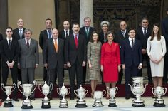 Queen Letizia of Spain Photos Photos - (L-R) King Juan Carlos, King Felipe VI of Spain, Queen Letizia of Spain and Queen Sofia attend the National Sports Awards 2015 at the El Pardo Palace on January 23, 2017 in Madrid, Spain. - Spanish Royals Deliver National Sports Awards 2015