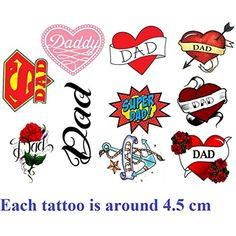 Dad Fathers Day Temporary Tattoos -- Find out more about the great product at the image link. (This is an affiliate link) #Makeup