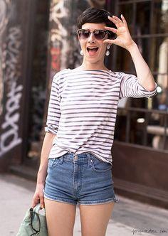 Striped top, high waisted denim shorts, sunglasses / Garance Doré