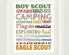 Boy Scout Eagle Scout Typography Poster Print, For 8X10 inch Frame