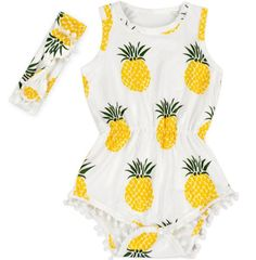 """Show your little princess off in this super cute pineapple pom pom romper. Pom pom rompers are a must have! Made of super soft stretch material for a comfy fit. Perfect for her first birthday outfit, cake smash outfit, photo sessions or an awesome baby shower gift! Complete this look with our matching pom pom top knot headband. SIZING:0-6 Months: Length 13.5""""/Width 8""""6-12 Months: Length 16""""/Width 10""""12 Months-2T: Length 17""""/Width 10.5""""Gently hand wash in cold water. Hang or lay flat to…"""