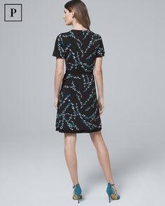 0d4b46346664 Women s Petite Floral Branch-Print Faux-Wrap Dress by White House Black  Market