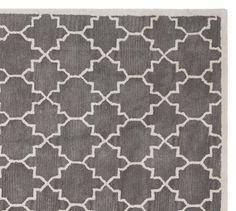 8x10 Jali Geo Tufted Rug - Gray #potterybarn _ - Dining Room