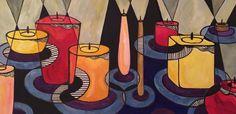 """80х40 см, масло, тушь, акрил, холст на картоне Идея картины – атмосфера, которую создают свечи в доме. Красота и эстетика формы, цвета, света и аромата. Взаимодействие света и темноты, теней, создание интимности и романтичности, таинственности и уюта. """"The Candles"""" 80х40 cm, oil, ink, acryle, a canvas on a cardboard Idea the painting – the atmosphere... #абстракция #арт #дихтяр"""