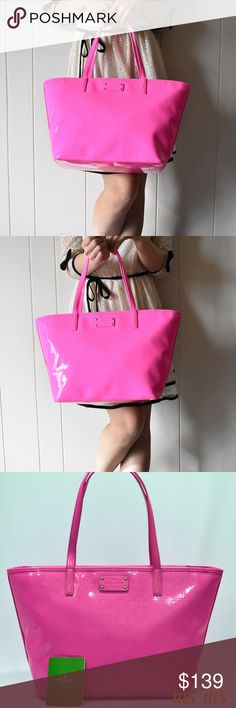 "NWT Kate Spade pink Tote Details: Color: Pink  Dimensions:  Kate Spade tote Approx. 17"" x 10"" x 6"", Handles with 9"" drop, Zip-top closure, Fabric lining with zip and multi-function pockets. kate spade Bags Totes"