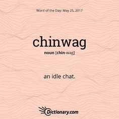 Today's Word of the Day is chinwag.  #wordoftheday #language #vocabulary