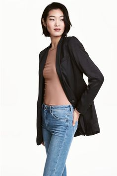Tuxedo jacket in woven viscose fabric with a sheen. Chest pocket, front pockets with flap, decorative buttons at cuffs, and vent at back. Lined. Tuxedo Jacket, Bomber Jacket, Smoking Noir, Viscose Fabric, Winter Looks, Blazers For Women, Tweed, Fashion Online, Black Women