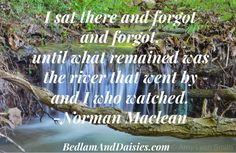 I sat there and forgot and forgot, until what remained was the river that went by and I who watched. -Norman Maclean