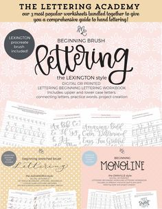 The Lettering Academy – mirabellecreations Hand Lettering Quotes, Brush Lettering, Lexington Style, Tombow Fudenosuke, Calligraphy Pens, Brush Pen, Gel Pens, Lower Case Letters, Fun Learning