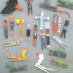 Fun old magazine page showing a neat way to turn ordinary clothespins into awesome toys.