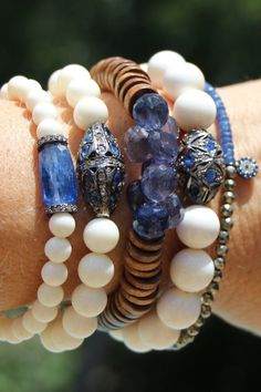 Blue Iolite and White Bone Bead Bracelet by HappyGoLuckyJewels, $89.00