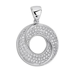 .925 Sterling Silver CZ Micro Pave Circle Swirl Shimmering Charm Pendant GoldenMine. $30.00. Promptly Packaged with Free Gift Box...Perfect for Gift Giving. Special manufacturing process held to ensure less wear and tarnish. This item showcases the finest Sterling Silver available today!. Rhodium coated for more shine.. Save 62% Off!