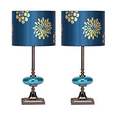 @Overstock - Refresh the decor of your living space with these floral design table lamps. These lamps feature an elegantly designed drum shade with gold flowers on a shiny blue background. A breathtaking addition to modern, contemporary, and transitional decors.http://www.overstock.com/Home-Garden/Casa-Cortes-Costa-Azul-Table-Lamp-Set-of-2/6995915/product.html?CID=214117 $84.99